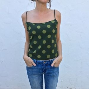 (Theory) Silk Polka Dot Cropped Tank